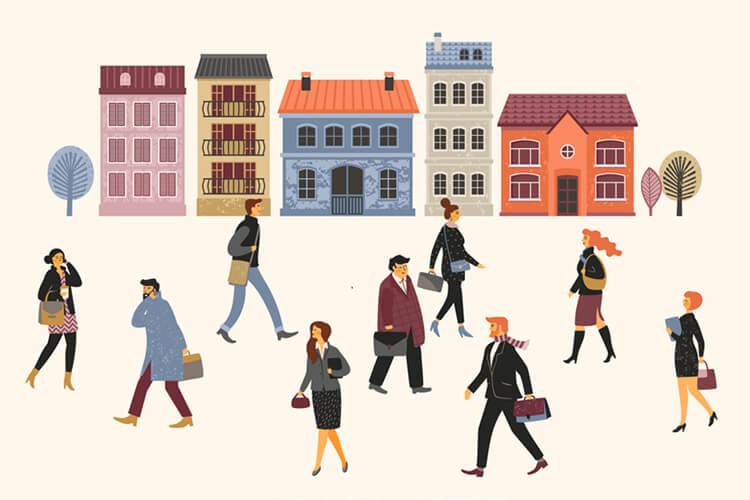 Illustratie van mensen die naar hun werk gaan.